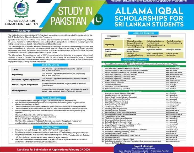 Allama Iqbal Scholarships for Srilankan Students – Hec