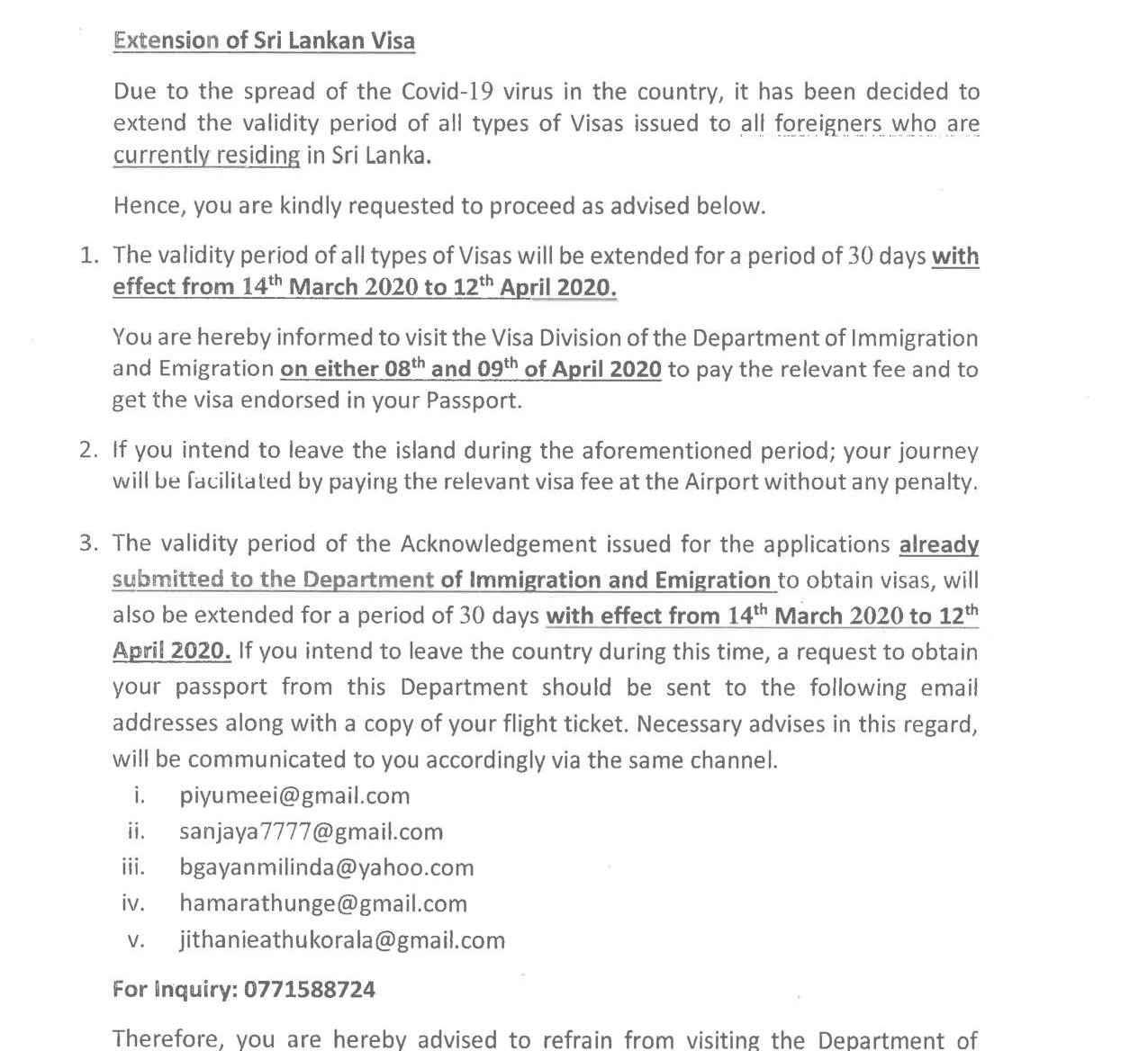 Special Notice Extension of Sri Lank Visa