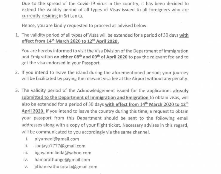 Special Notice Extension of Sri Lank Visa