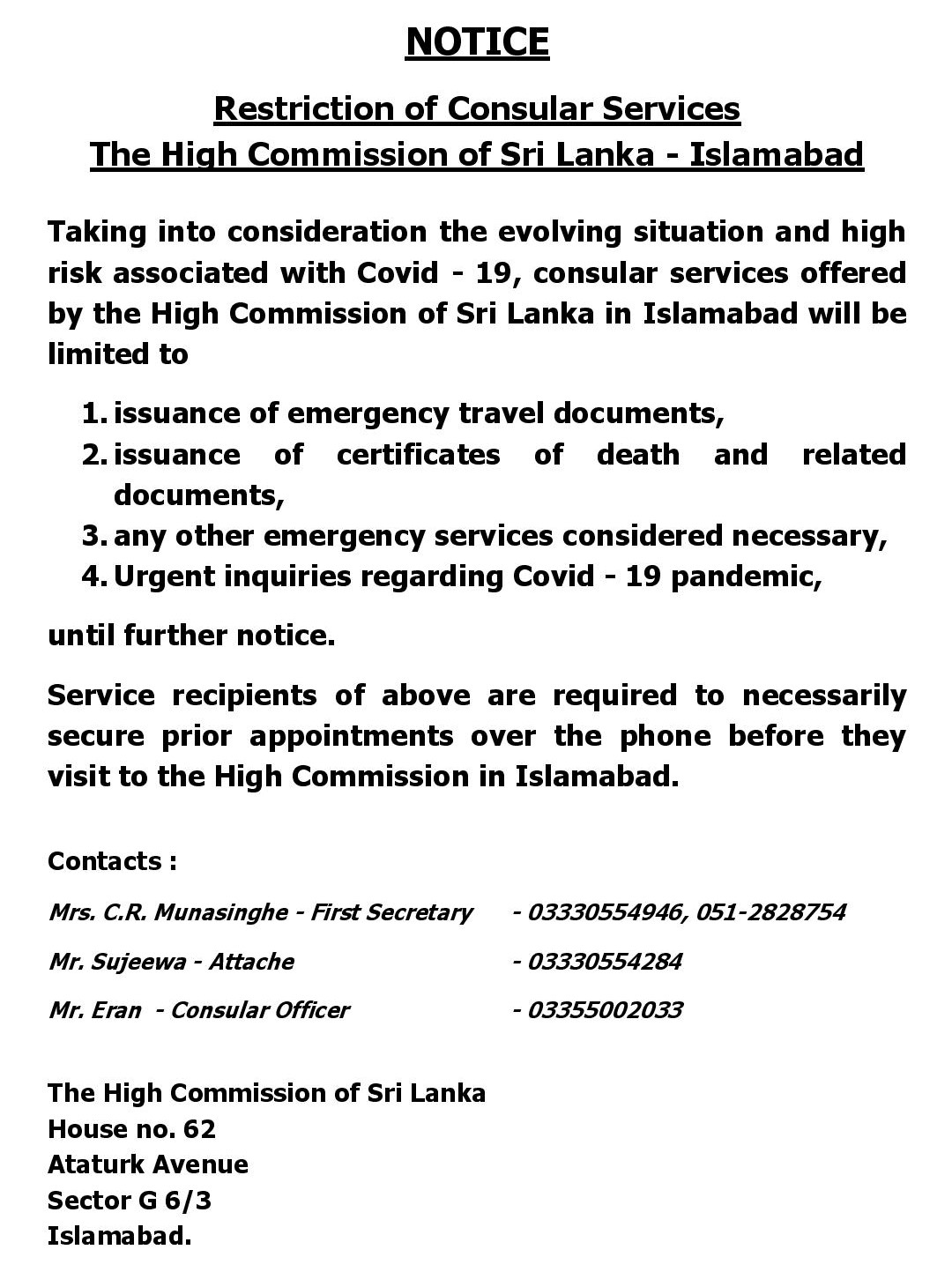 Restriction of Consular Services The High Commission of Sri Lanka – Islamabad